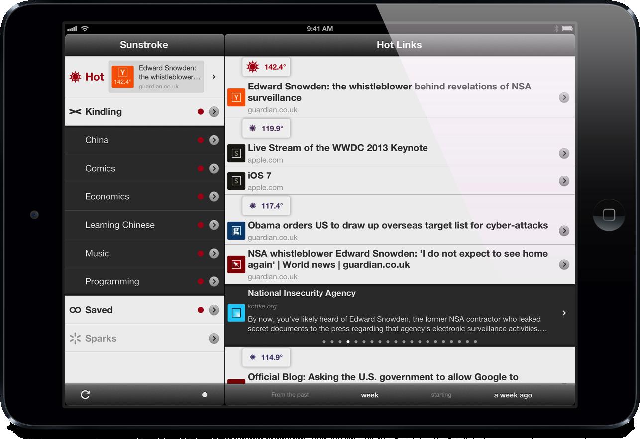 Sunstroke 1.5 hot links list iPad